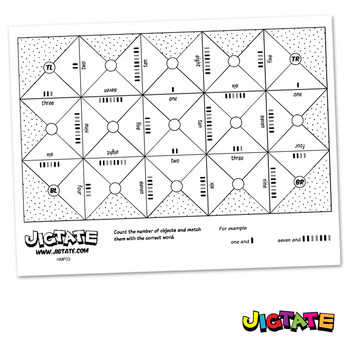 Jigtate Printables - Counting Objects One-Ten Puzzle Sheet