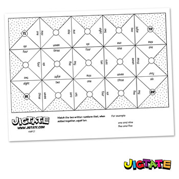 Jigtate Printables - Two Numbers That Equal Ten Puzzle She