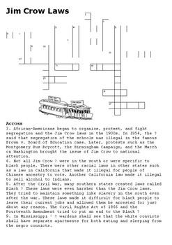Jim Crow Laws Crossword
