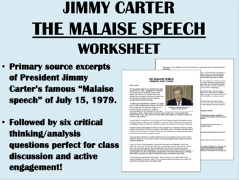 """The Malaise Speech"" - Jimmy Carter - Crisis of Confidence"