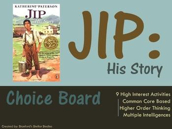 Jip His Story Choice Board Tic Tac Toe Novel Activities As