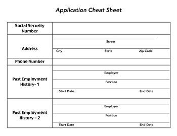 Job Application Cheat Sheet