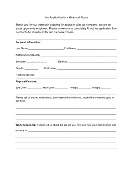 Job Application for a Historical Figure