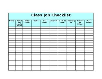 Job Chart Checklist- Editable!