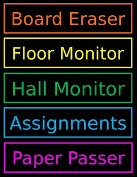 Classroom Job Chart Neon Chalkboard Editable Power Point