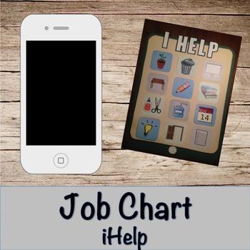 "Job Chart- iphone ""iHelp"" classroom job chart"