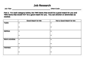 Job research - Find a career for you! worksheet, internet