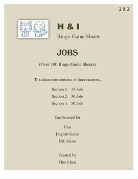 Jobs Bingo Game (H&I Bingo Game Sheets) - 3 X 3