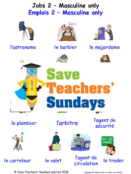 Jobs Masculine Only in French Worksheets, Games, Activitie
