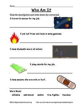 Jobs Worksheet Packet