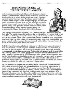 Johannes Gutenberg Biography Worksheet and Crossword Puzzle