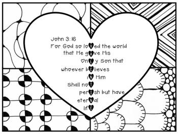 John 3:16 Valentine Coloring Page Zentangle Printable