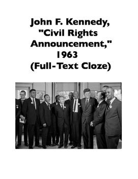 "John F. Kennedy, ""Civil Rights Announcement,"" 1963 (Full-T"