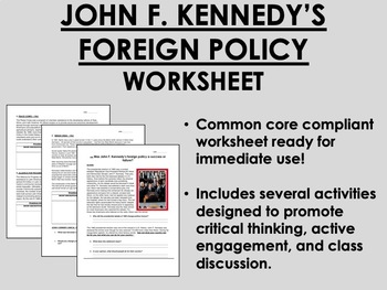 John F. Kennedy's Foreign Policy worksheet - US History Co