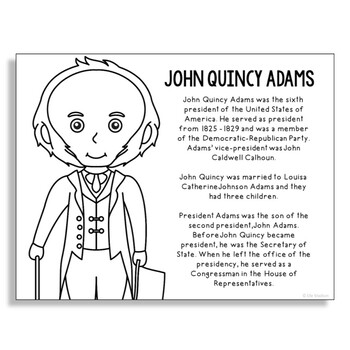 President John Quincy Adams Coloring Page Activity or Post