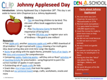 Johnny Appleseed Day CLIP (Creative Learning in a Pinch) Sept. 26