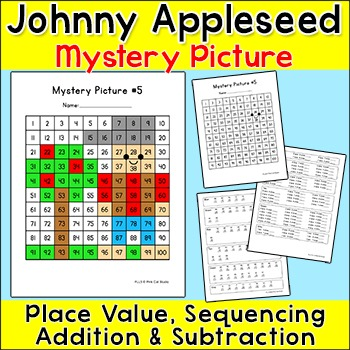 Johnny Appleseed Mystery Picture: Place Value, Sequencing,