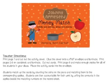 Johnny Appleseed Money Match - Nickels and Pennies, Dimes