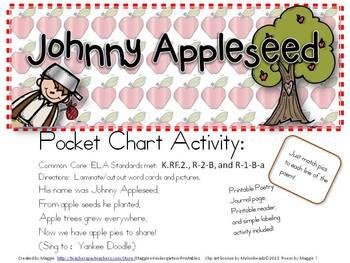 Johnny Appleseed Pocket Chart Poem Set with Printable Reader