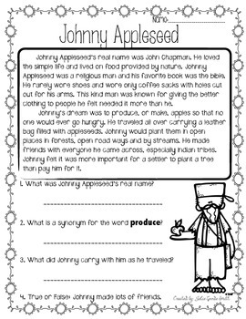 Johnny Appleseed Reading Passage