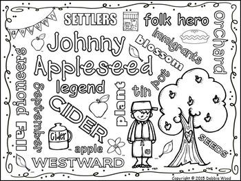 Johnny Appleseed Vocabulary WORD ART FREEBIE