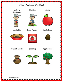 Johnny Appleseed Word Wall