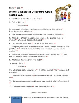 Joints and Skeletal Disorders Open Notes Worksheet with KEY
