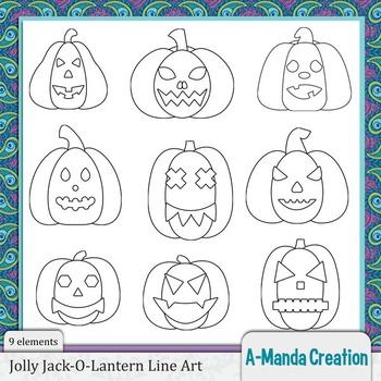 Jolly Jack-O-Lanterns Line Art and Digital Stamps