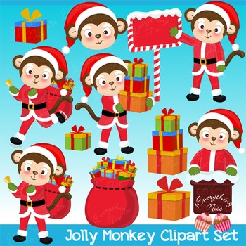 Jolly Monkey Santa Clipart Set