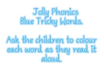 Jolly Phonics Blue Tricky Words Activity