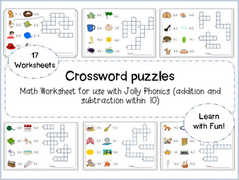 Jolly Phonics Math Crossword puzzles (addition and subtrac