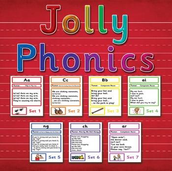 Jolly Phonics Songs Set 1 - 7 (42 letter sounds) BOARDMAKER