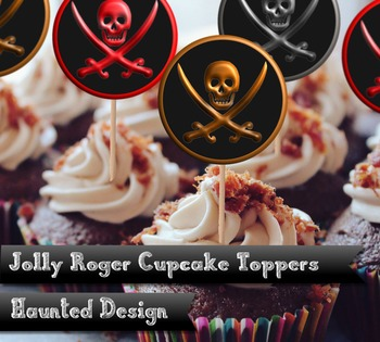 Jolly Roger Cupcake toppers 2 inch circles in red gold and