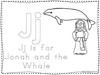 Jonah and the Whale Color and Trace Worksheet. Preschool-K
