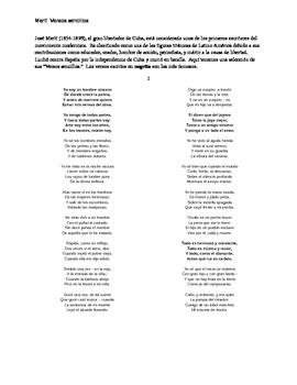 """José Martí """"Versos Sencillos"""" selection and questions: upp"""