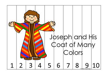 Joseph themed 1-10 Sequence Puzzle printable game. Prescho
