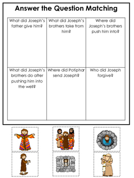 Joseph themed Answer the Question printable game. Preschoo