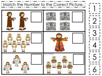 Joseph themed Match the Number printable game. Preschool B