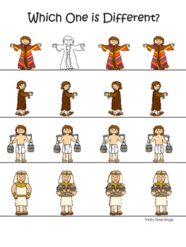 Joseph themed Which One is Different printable game. Presc