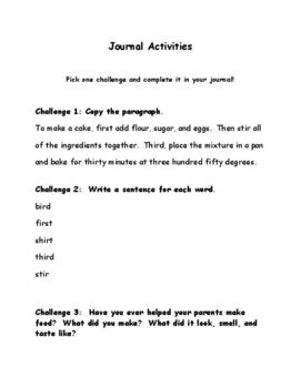 Journal Activities -ir Words