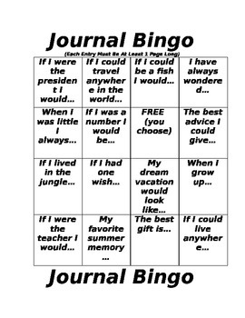 Journal Bingo Cards