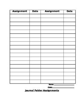 Journal Folder Assignment Sheet