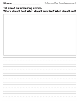 Journal Prompt for Informative Writing Pre Assessment Firs