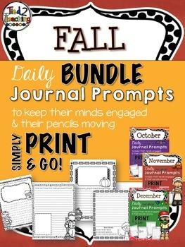 Journal Prompts - FALL BUNDLE  (October, November, December)