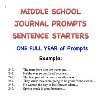 Journal Prompts Sentence Starters - For Middle School - a