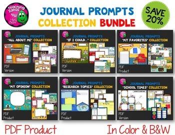 Journal Writing Prompts Bundle PDF Version Color & Ink Sav
