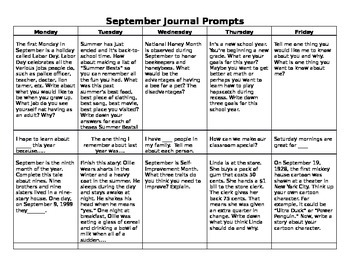 Journal Writing Prompts Calendar ( September - June )