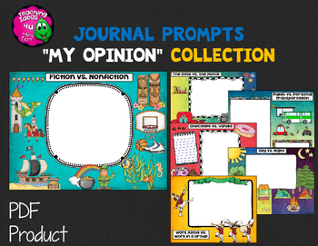 "Journal Writing Prompts ""My Opinions"" Color & Ink Saver Versions"