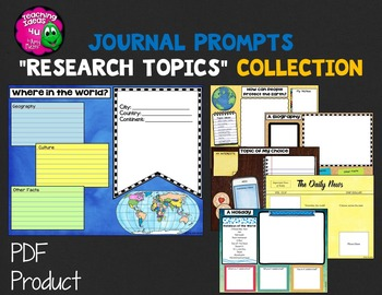 """Journal Writing Prompts """"Research Topics"""" Color & Ink Save"""