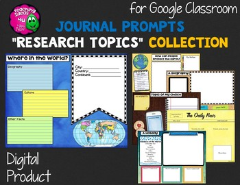 """Journal Writing Prompts """"Research Topics"""" GOOGLE Drive Version"""